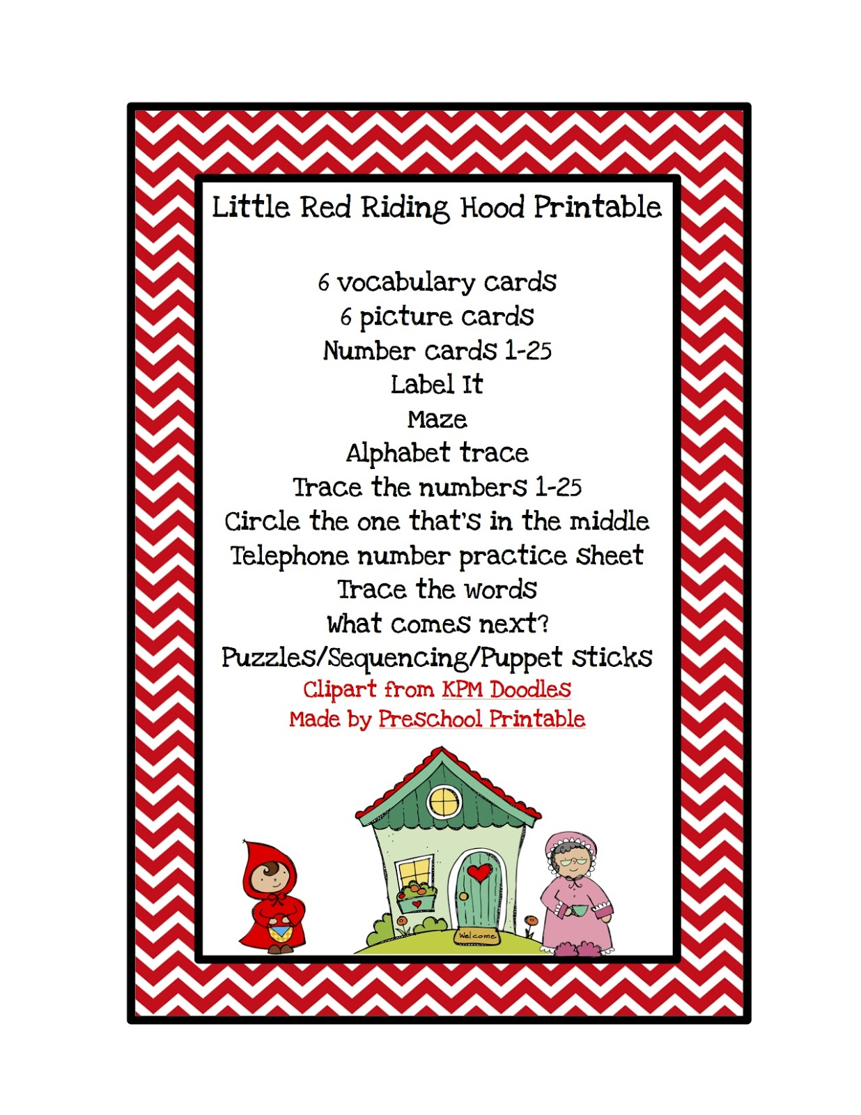 Little Red Riding Hood Printable Preschool Printables