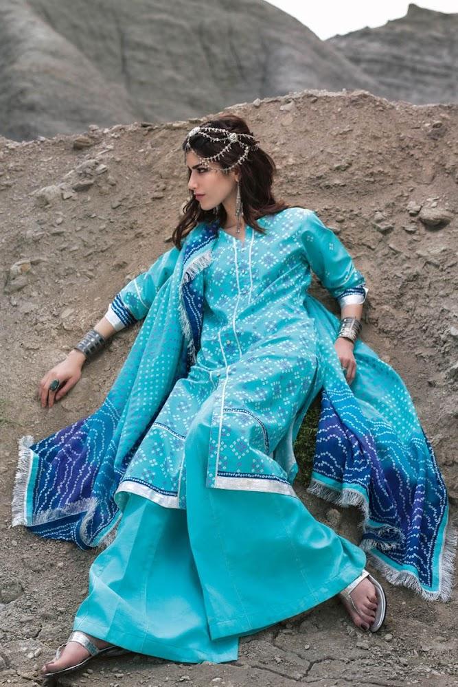Gul Ahmed Blue Lawn suit