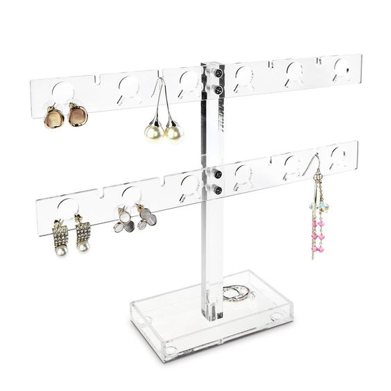 Premium Acrylic 20 Pairs Earring Display Stand Jewelry Holder, Clear