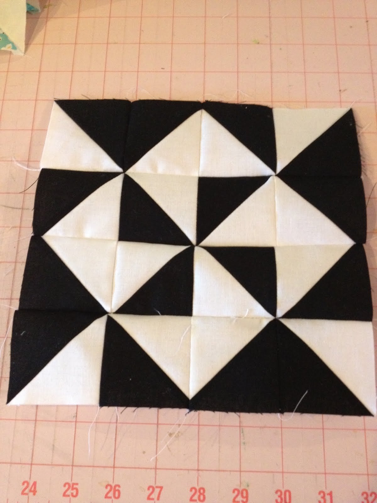 Knit N Lit Modern Half Square Triangle Quilt A Long Block 19
