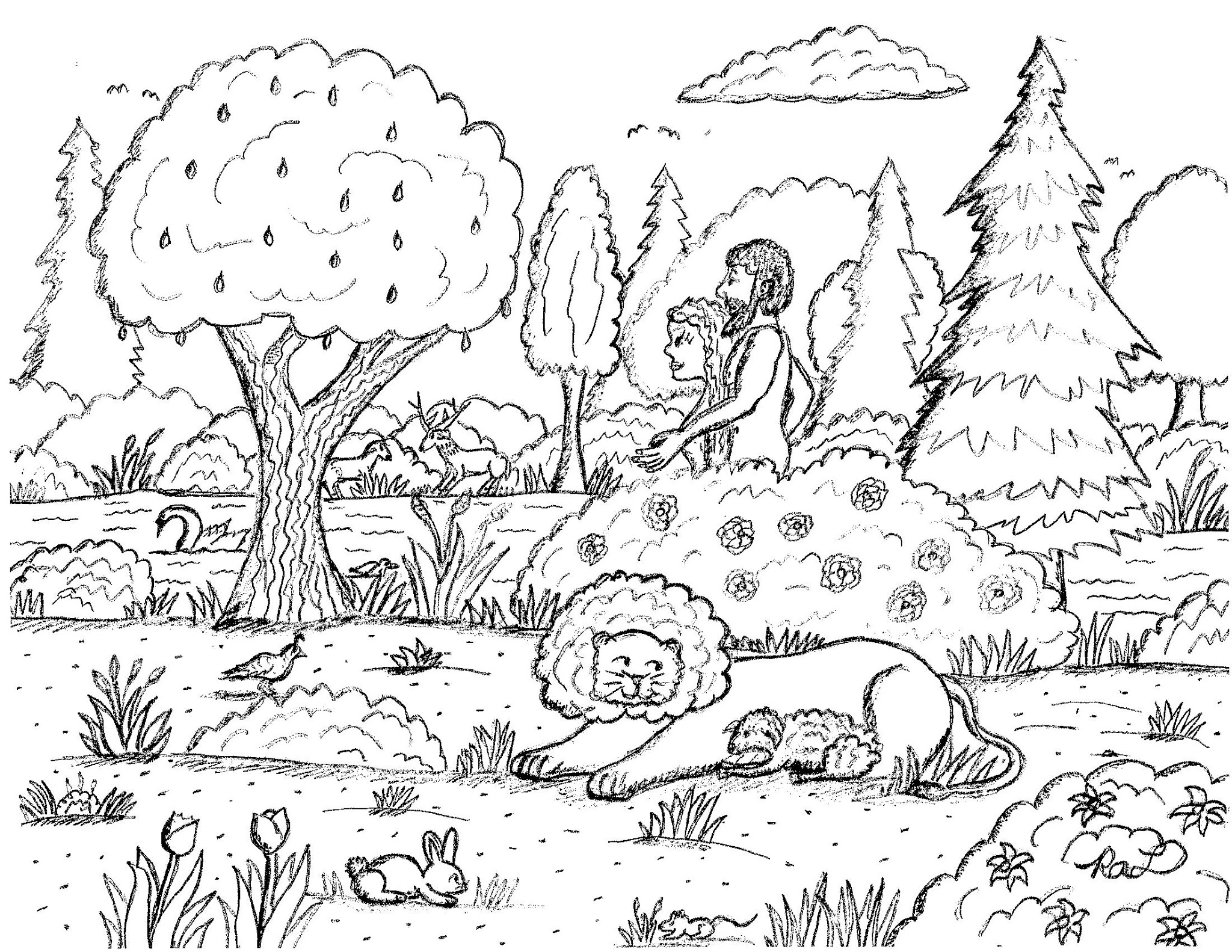 Robin S Great Coloring Pages Adam And Eve Walking In The Garden Of Eden Coloring Page
