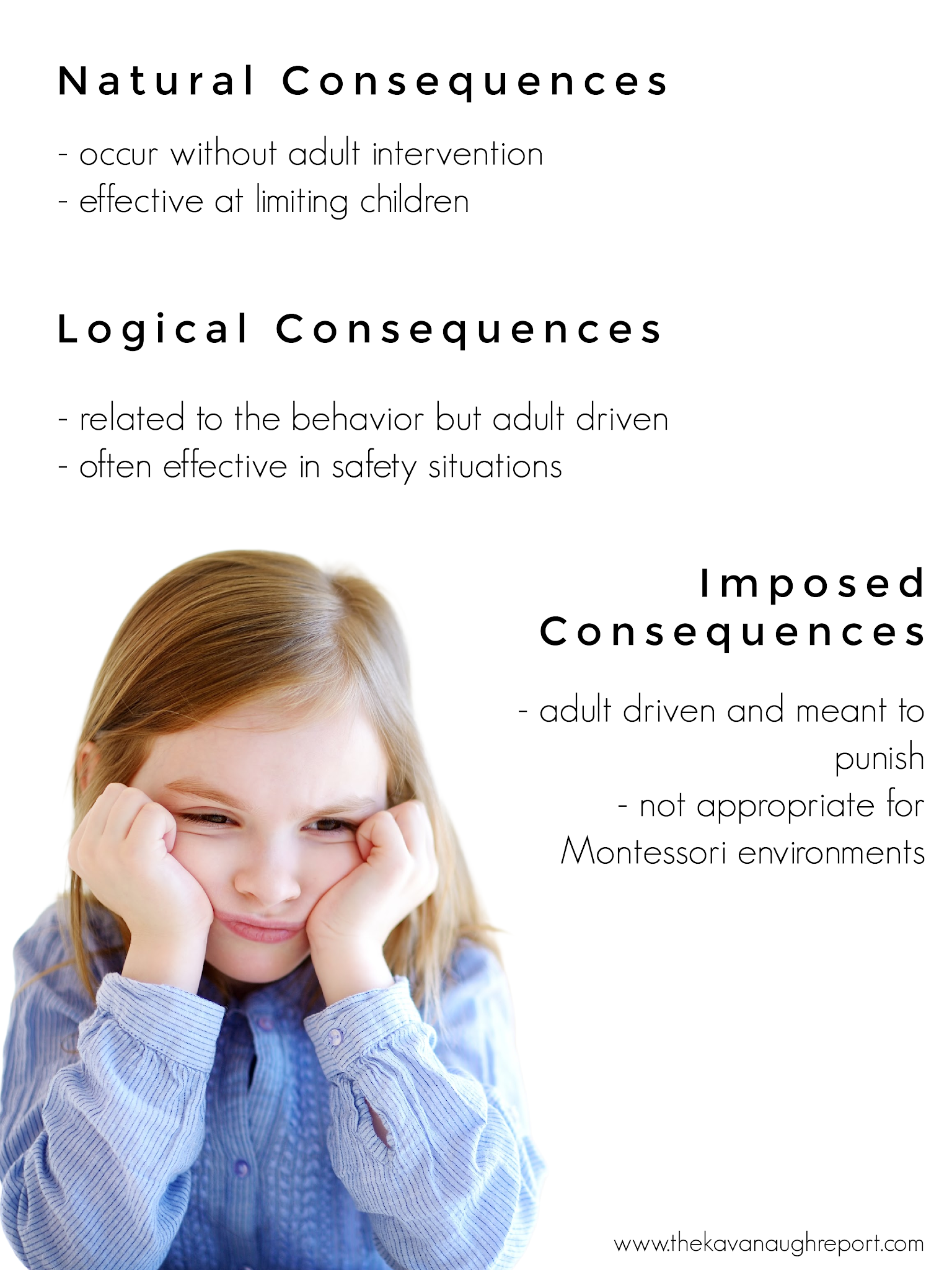 Montessori parenting takes a different approach to discipline. Here's a look at types of consequences and how they might be used in a Montessori home.