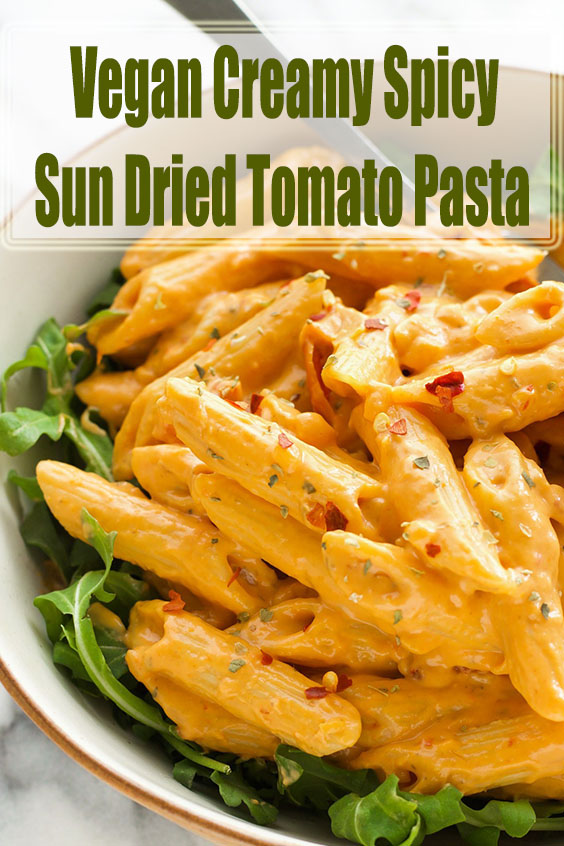 Vegan Creamy Spicy Sun Dried Tomato Pasta