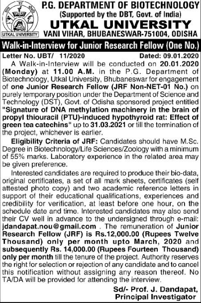 Utkal University Animal Sciences/Biotech JRF/PA Walk INs Ad image
