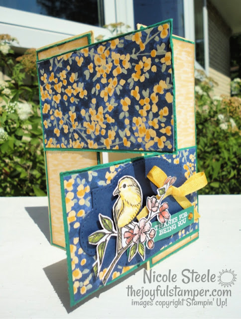 double panel gate fold card, fun fold, stampin' up!, free as a bird, garden impressions designer series paper, patterned paper