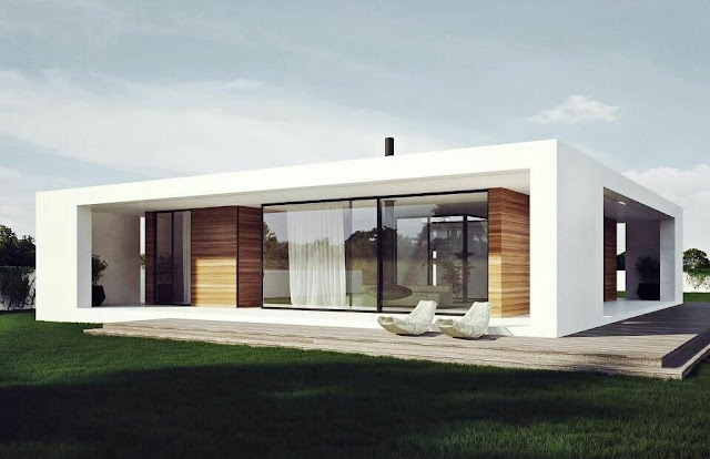Modern one story house exterior