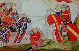 A scene from the important Battle of Montecatini in 1315, in which Castruccio masterminded a Ghibelline victory
