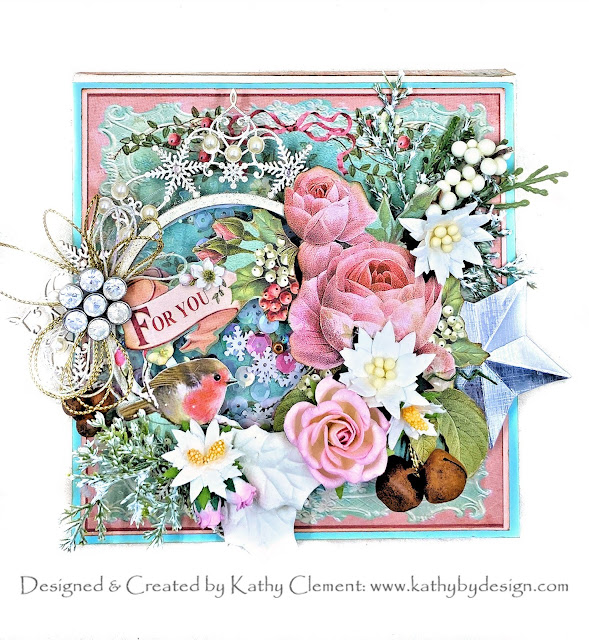 Stamperia Pink Christmas Card by Kathy Clement for Really Reasonable Ribbon Photo 01