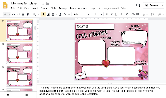 Example of a Google Slides template for morning messages