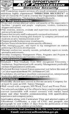 Pak Airports Security Force  ASF Foundation Jobs 2021