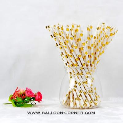Gold Polka Dot Paper Straws / Sedotan Kertas Motif Polkadot Gold