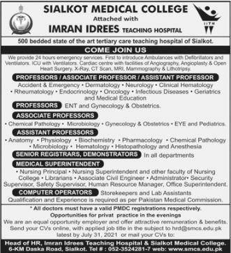 JOBS | Sialkot Medical College