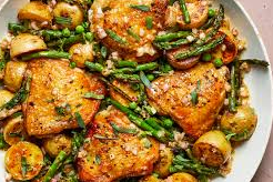 Skillet Chicken Thighs with Spring Vegetables