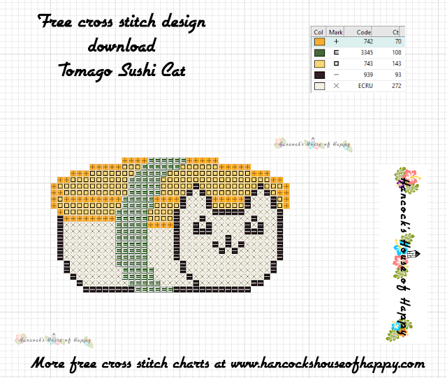 Sushi Cat Cross Stitch Design: Tomago Nigiri Cat Free Cross Stitch Pattern to Download