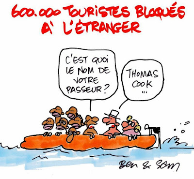Cartoon of European White travellers riding with economic refugees in a boat seeking to get back home to Europe, since their travel agency 'Thomas Cook' went bankrupt