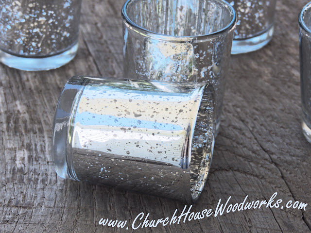 Gold And Silver Mercury Glass Votive Holders- Wedding Glass Candle Holders