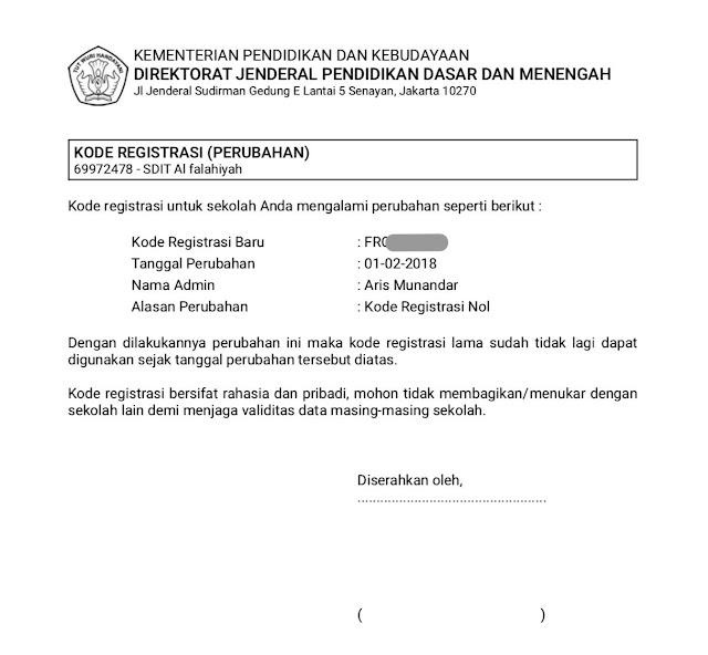 Panduan / Cara Reset Kode Registrasi Dapodikdasmen Bagi ...