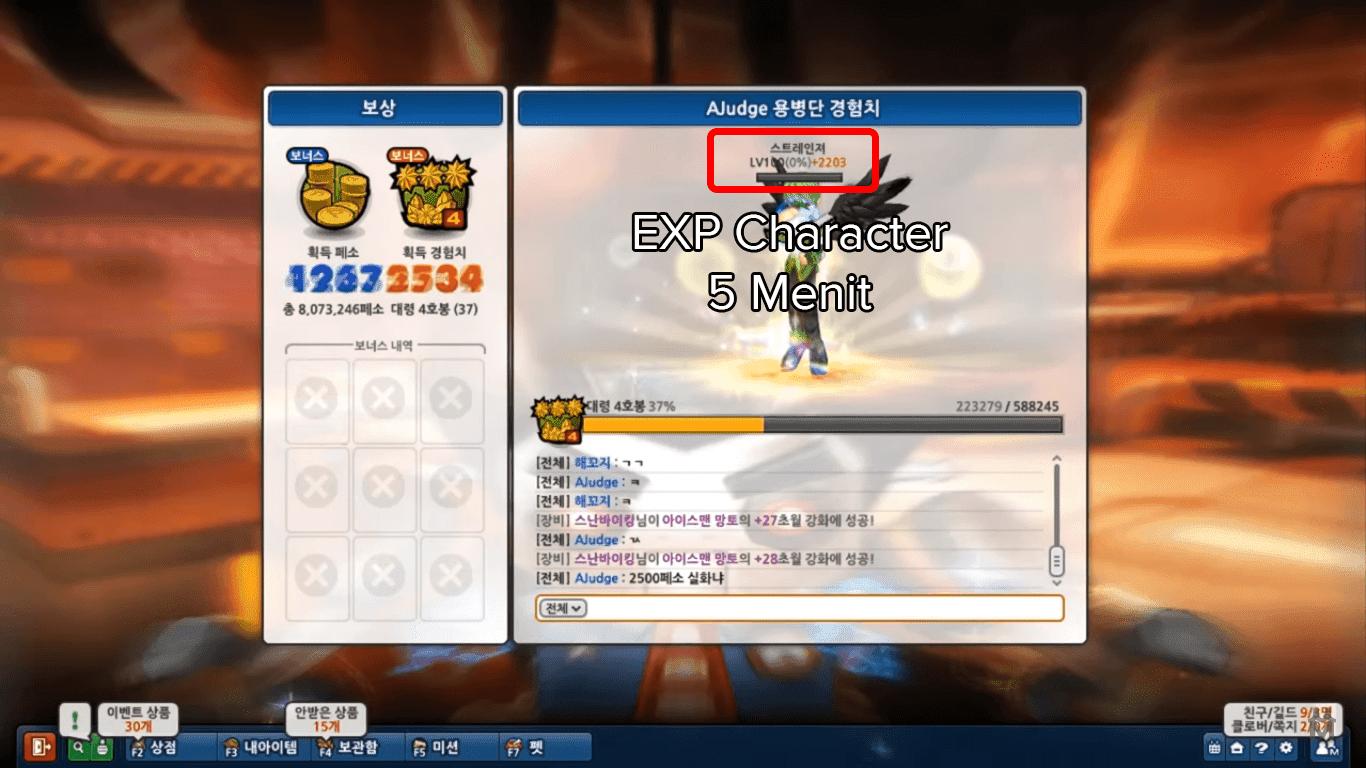 EXP Character dalam Kurun waktu 5 Menit