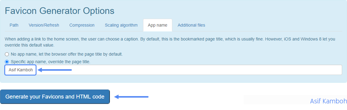 Select the Specific app name, override the page title option, and type your blog name in it.
