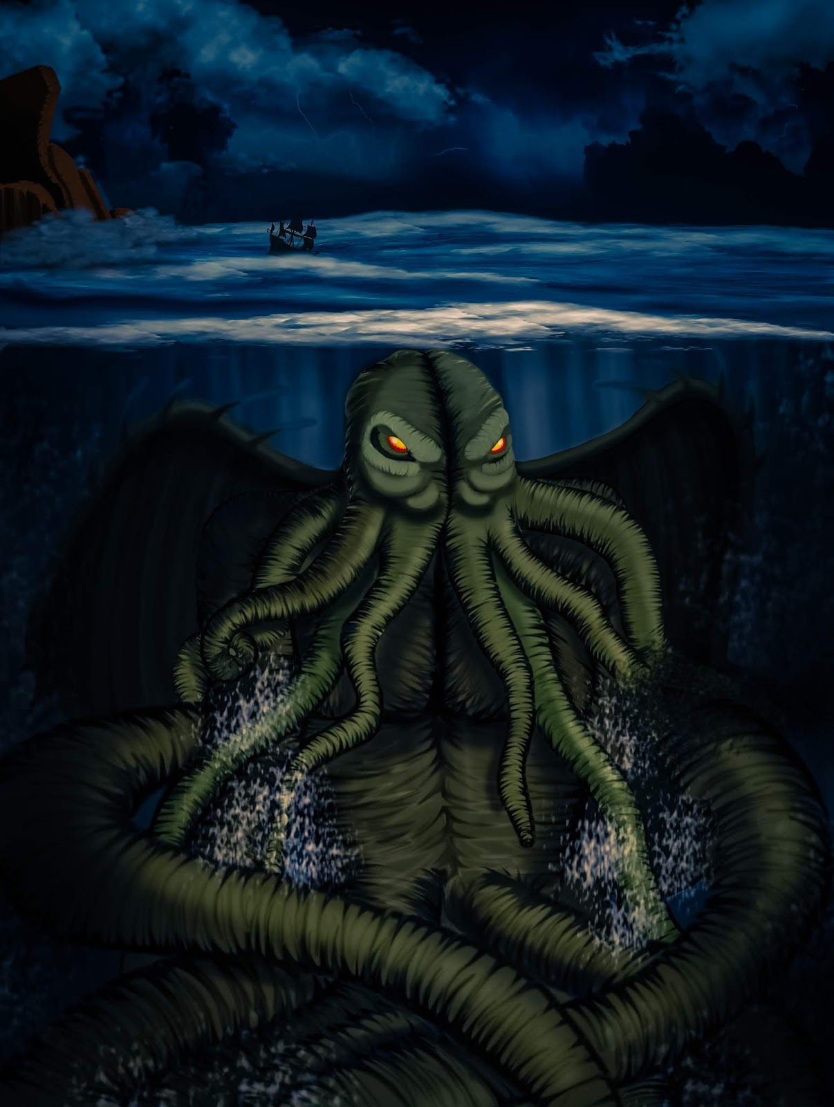 Cthulhu art drawing - Lovecraftian horror art by Konstantina Antoniadou
