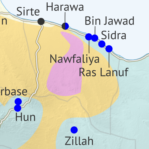 Libya: Who controls what? A concise, professional map of of who controls Libya now (April 2019). Shows detailed territorial control in the Libyan Civil War as of April 1, 2019, including all major parties (Government of National Accord (GNA); Tobruk House of Representatives, General Haftar's Libyan National Army (LNA), and allies; Tuareg and Toubou (Tebu, Tubu) militias in the south; the so-called Islamic State (ISIS/ISIL); and other groups such as the National Salvation Government (NSG) and religious hardline fighters). Includes terrain, major roads, and recent locations of interest including Murzuq, Ghadduwah, Qatrun, Uwaynat, and more. Colorblind accessible.