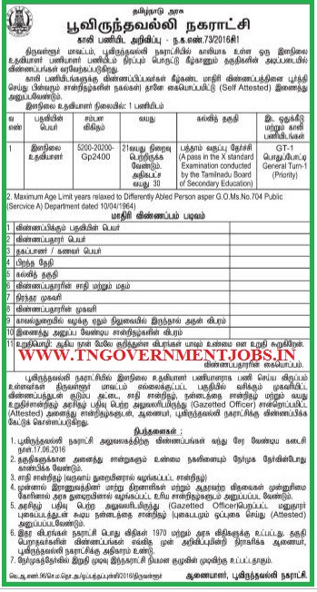 Poonamallee Municipality Chennai Recruitment of Junior Assistant Post