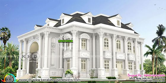 Decorative style long pillar Colonial home design