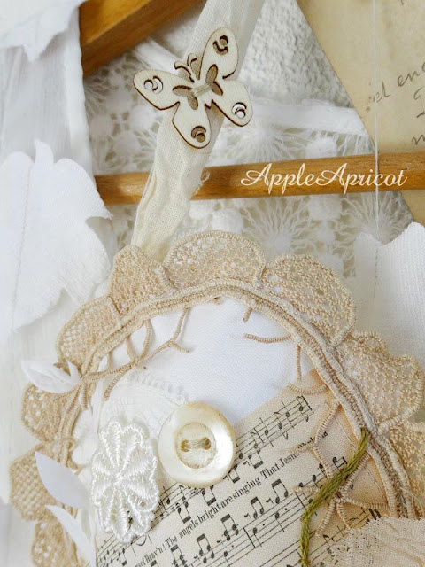 Fabric and lace heart by AppleApricot