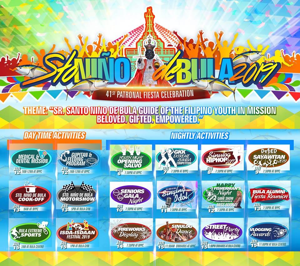 Sto. Niño de Bula Patronal Fiesta 2019 schedule of activities