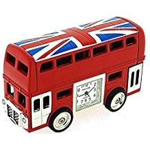 Park Lane Red London Bus With Union Jack Flag Collectors Novelty Clock PLCLK145
