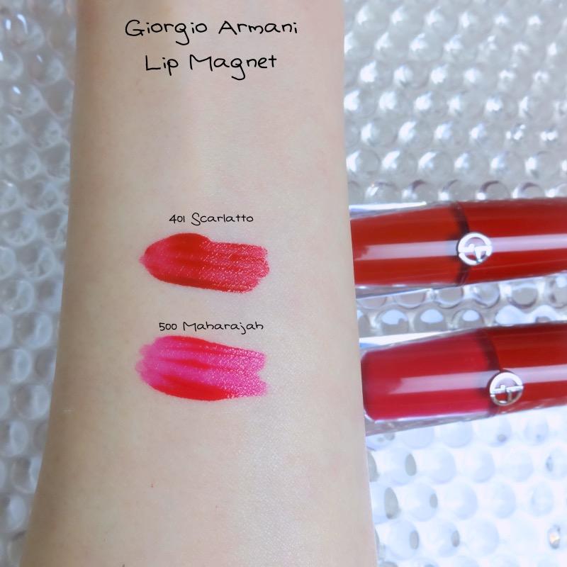 Giorgio Armani Lip Magnet 401 Scarlatto comparison swatch