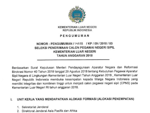 CPNS 2018 Kementerian Luar Negeri