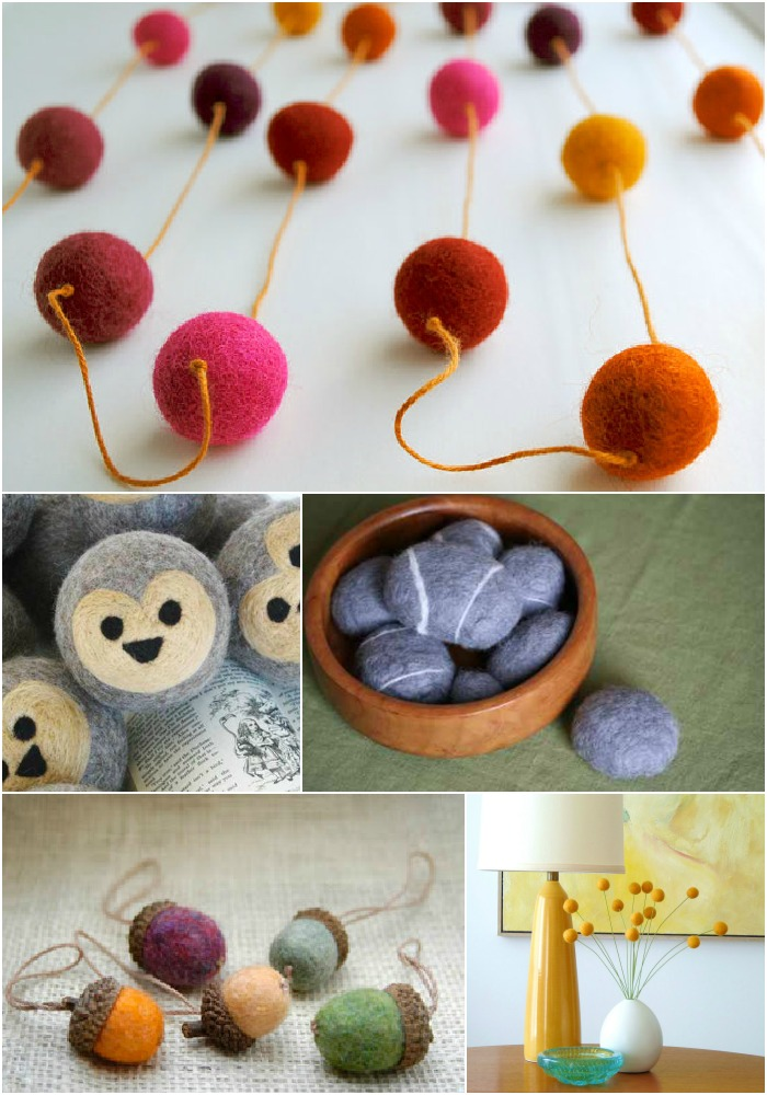 Projects to make with felted wool balls