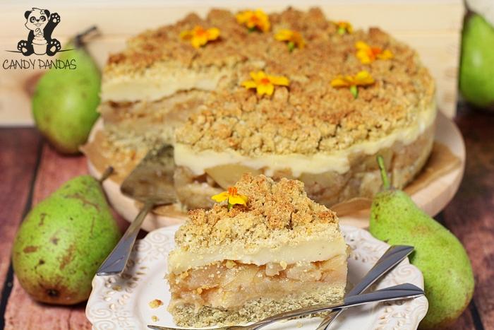 Kruche z gruszkami i budyniem (bez glutenu, cukru białego, laktozy, wegańskie)