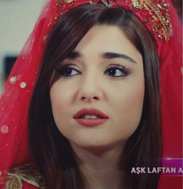 Hande Ercel Cute Expressions in Red Dress
