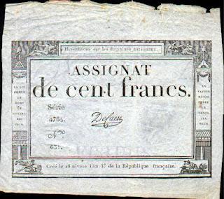 Франция. Ассигнат 100 франков 1795 года.