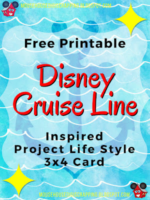 """Mickey Anchor - Waves"" Disney Cruise inspired Project Life style 3x4 Card Pin Image for Pinterest"