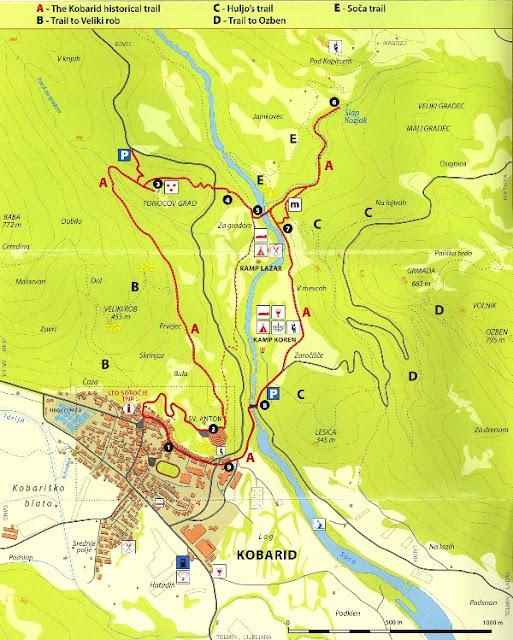 Mapa de Kobarid Historical Trail
