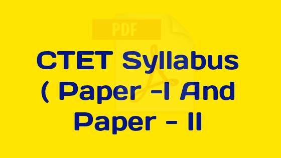 Syllabus Of CTET 2020