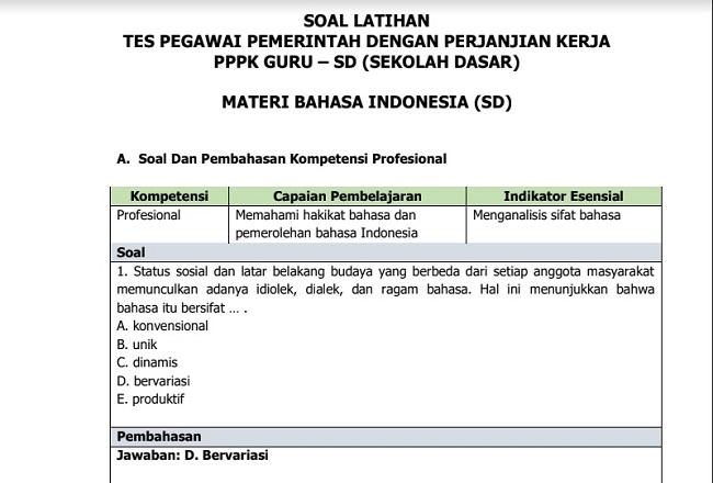 Kumpulan Contoh Soal Tes Seleksi Pppk Materi Soal Bahasa Indonesia Sd Terbaru Untuk Persiapan Tes Seleksi Pppk Di Tahun 2021 Jurnalis Kompas