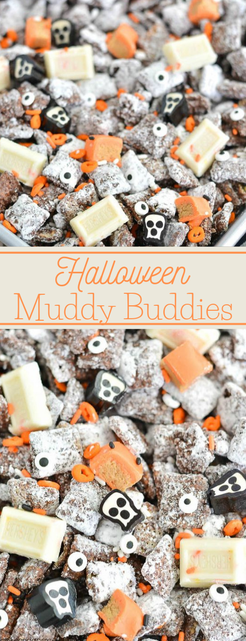 Halloween Muddy Buddies #desserts #cakes #pie #pumpkin #easy