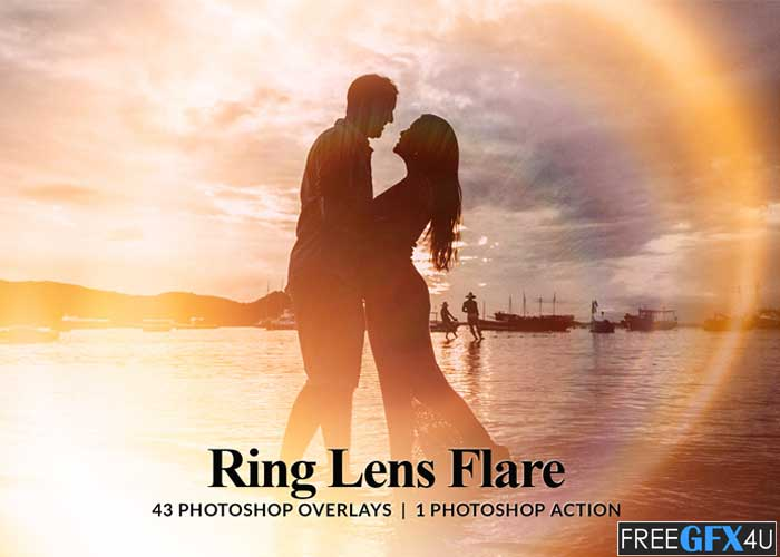 43 Ring Lens Flare Overlays & Photoshop Action