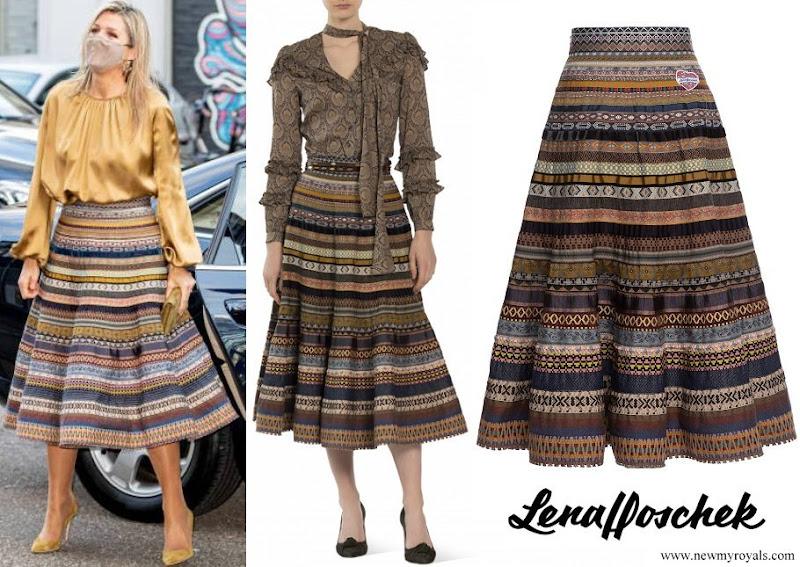 Queen Maxima wore Lena Hoschek Opulence Ribbon Skirt