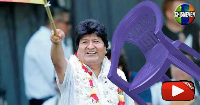 BIEN MERECIDO   Evo Morales golpeado con una silla en la cabeza