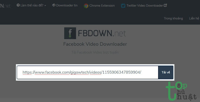 Tải video bằng fbdown.net