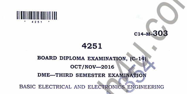Sbtet Electrical & Electronics Engineering previous model question paper oct/nov 2016 Diploma