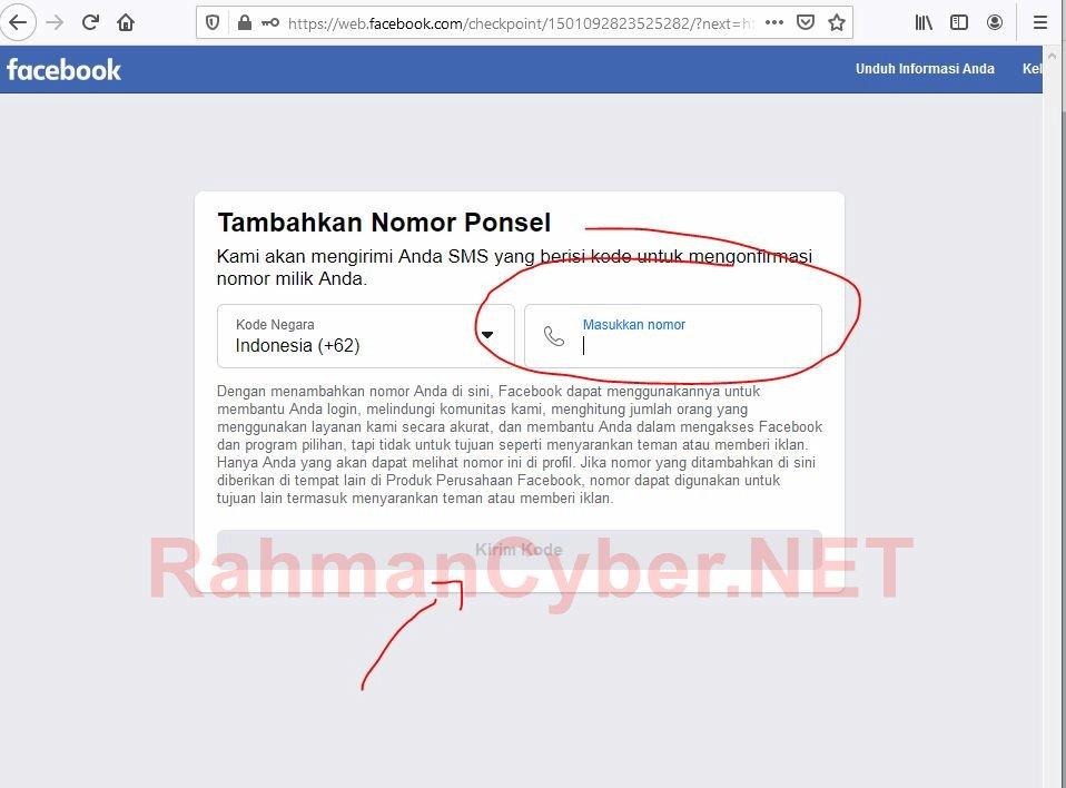 Form memasukkan nomor telp facebook