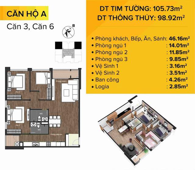 Mặt bằng Thiết kế chi tiết căn hộ A – Căn 03 và 06
