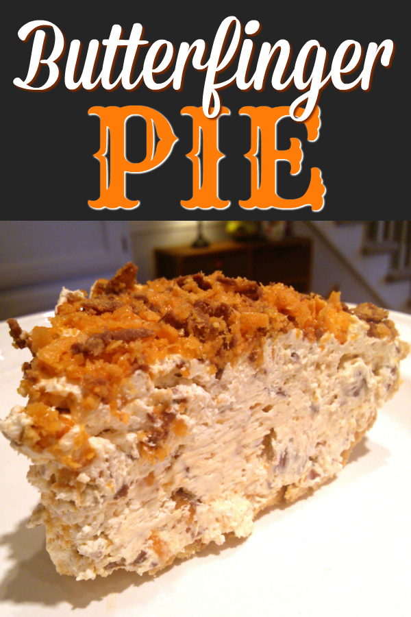 The original no-bake pie recipe with Butterfinger candy bars, cream cheese, vanilla and whipped cream topping.