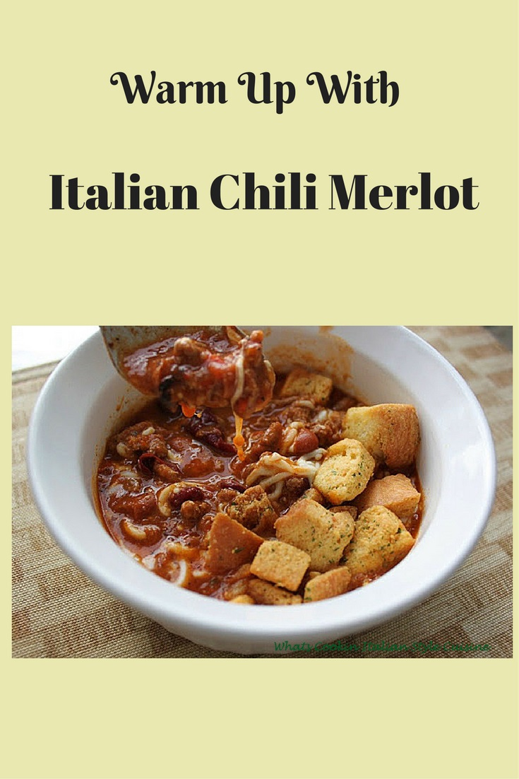 this is a delicious chili made with Italian herbs, spices, meat and beans with a splash of Merlot wine.